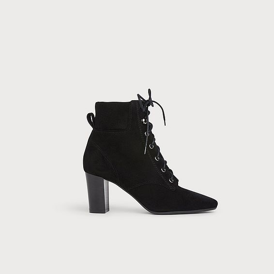 Avery Black Suede Ankle Boots
