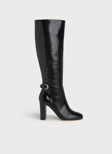 Brooklyn Black Leather Knee Boots