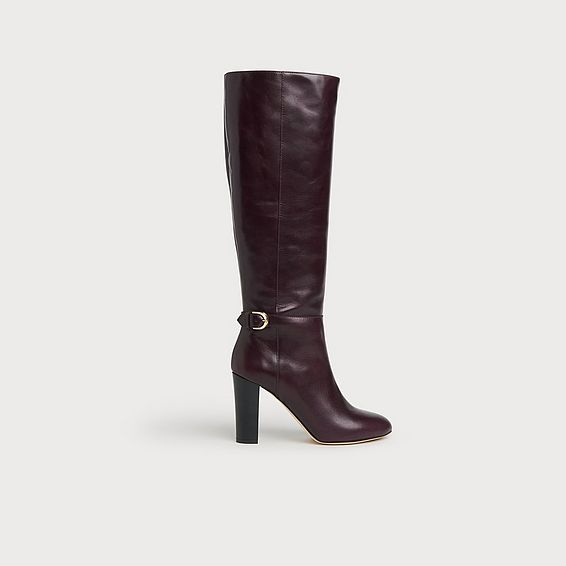 Brooklyn Dark Red Leather Knee Boots