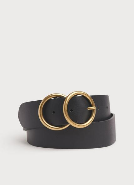 Georgina Black Leather Double Ring Belt