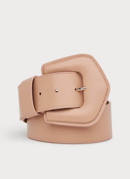 Gracie Beige Leather Wide Belt