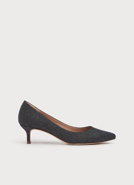 Audrey Grey Fine Glitter Leather Courts