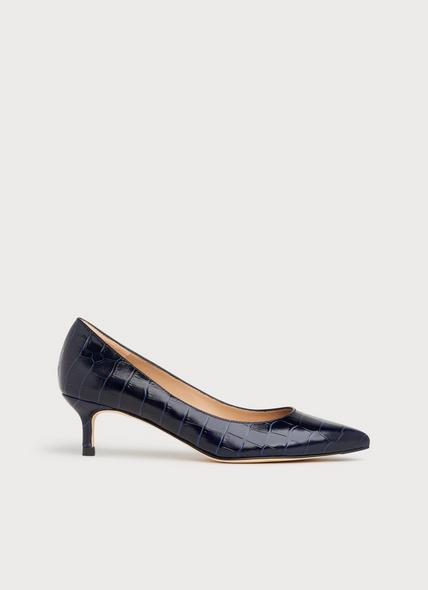 Audrey Navy Croc-Effect Leather Courts