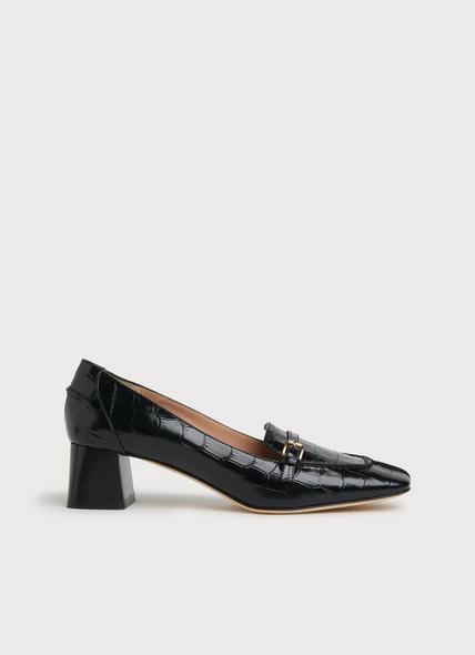 Felicity Black Croc-Effect Leather Heeled Loafers