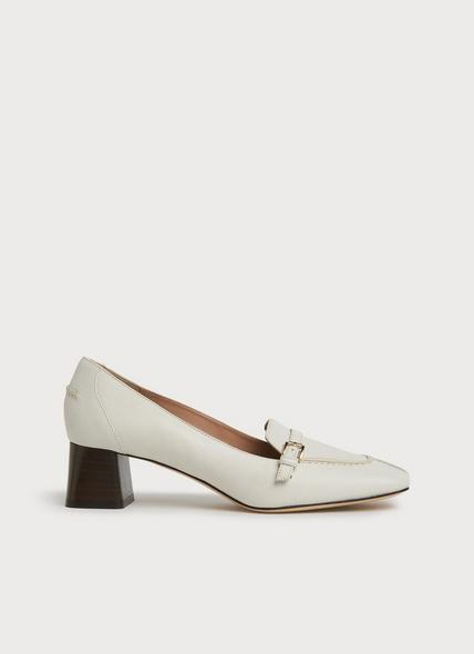 Felicity White Leather Heeled Loafers