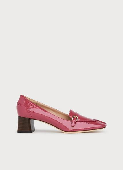 Felicity Pink Patent Leather Heeled Loafers