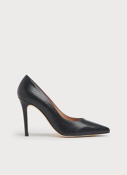 Fern Black Snake Print Leather Courts