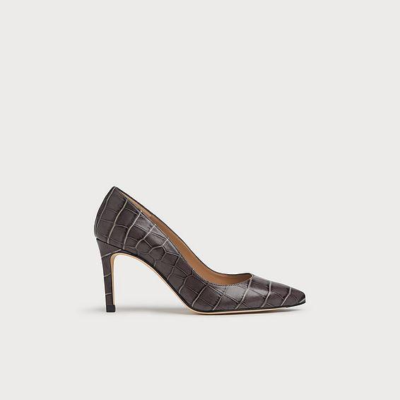 Floret Grey Croc-Effect Leather Courts