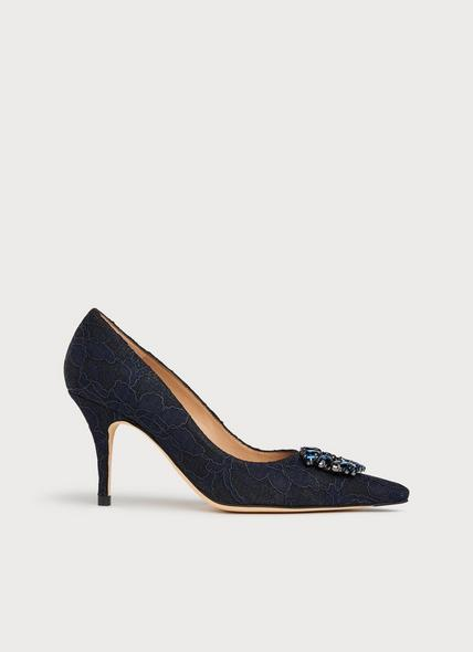 Harmony Black Navy Lace Courts