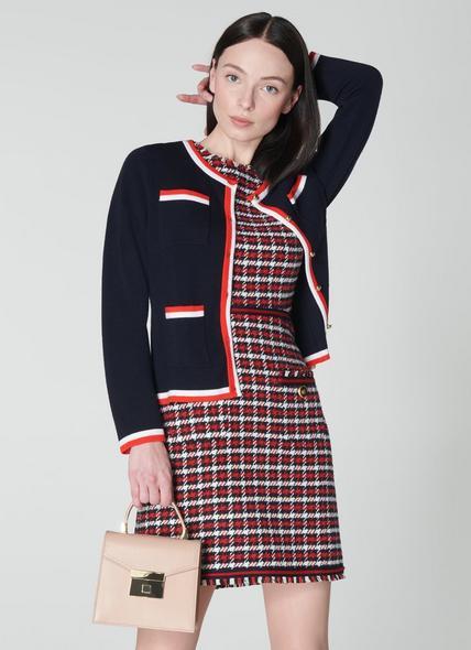 Angie Navy Merino-Cotton Cardigan