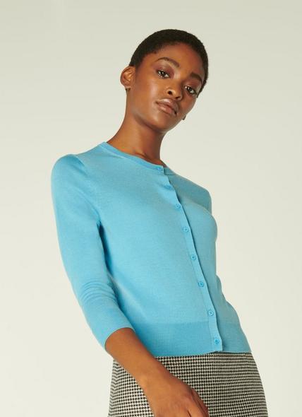 Bonnie Blue Merino Wool Cardigan