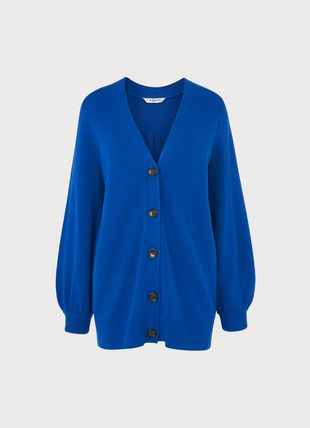 Rosa Blue Merino Wool-Blend Oversized Cardigan