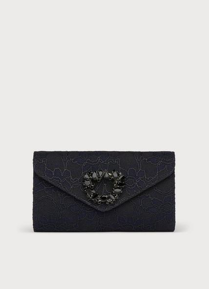 Dawn Navy & Black Lace Clutch