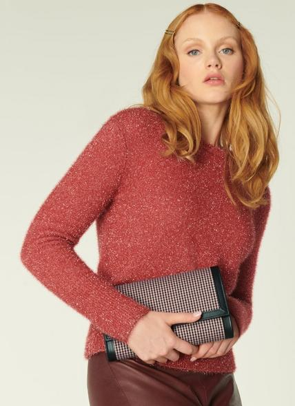 Dayana Coral & Black Houndstooth & Leather Clutch