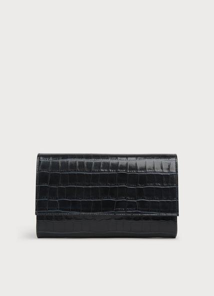 Dayana Teal Croc-Effect Leather Clutch
