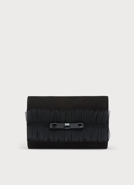 Dakota Black Suede & Mesh Ruffle Clutch