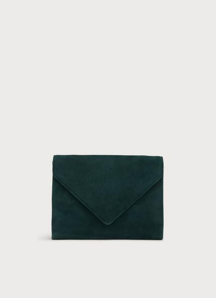 Della Dark Green Envelope Clutch