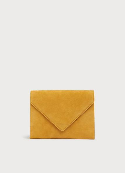 Della Mustard Suede Envelope Clutch