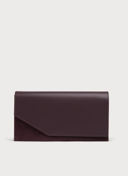 Demi Dark Red Leather & Suede Clutch