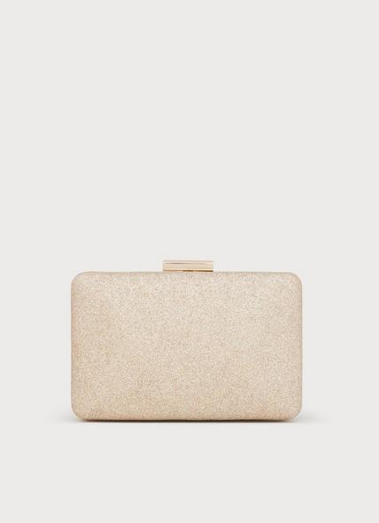 Dotty Champagne Glitter Box Clutch