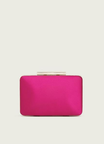 Dotty Pink Satin Box Clutch