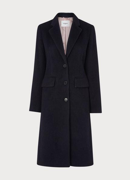 Albertine Navy Bouclé Single-Breasted Coat