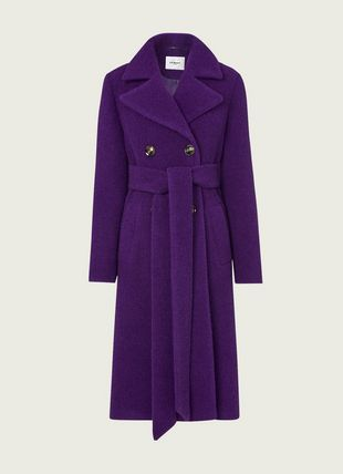 Alessandra Purple Bouclé Double-Breasted Coat