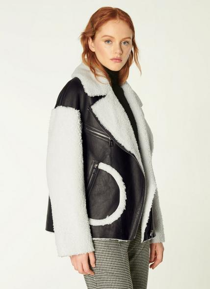 Amelia Brown & White Sheepskin Aviator Jacket