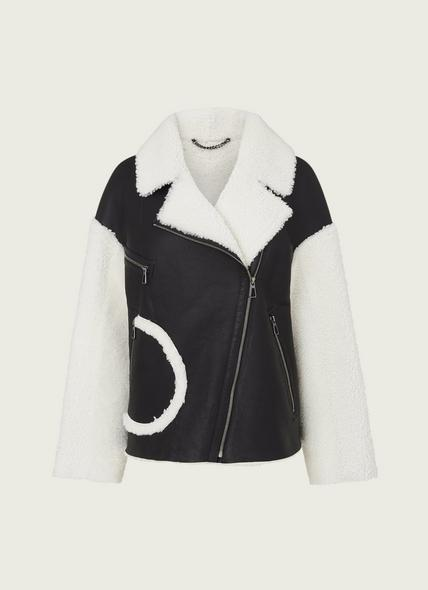 Amelia Brown & White Sheepskin Aviator Jacket
