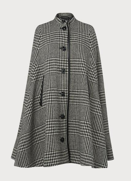Harris Black & White Prince of Wales Check Cape