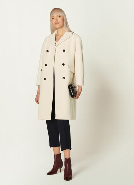 Leanne Winter White Wool-Blend Double-Breasted Coat