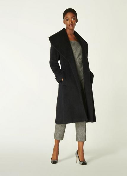 Manon Black Wool-Blend Shawl Collar Coat