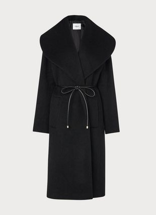 Manon Black Wool-Blend Shawl Collar Coat