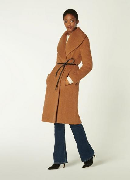 Manon Camel Wool-Blend Shawl Collar Coat