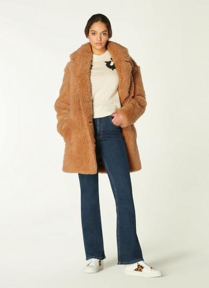 Mia Camel Shearling Coat