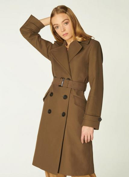 Milo Olive Cotton Double-Breasted Coat