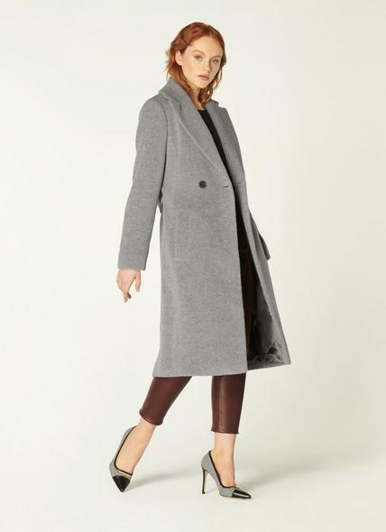 Orfeo Grey Wool-Blend Belted Coat