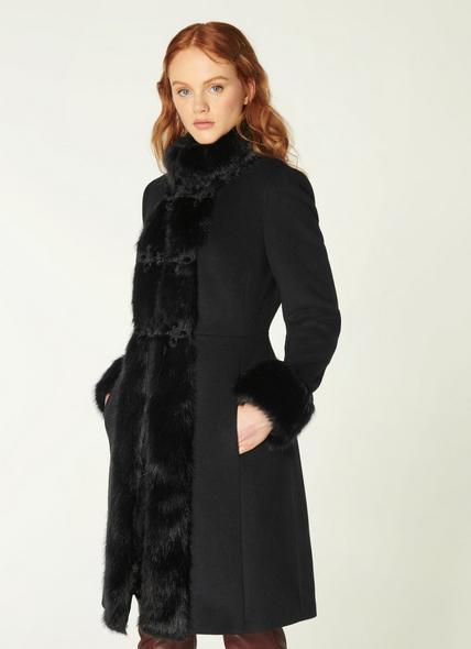 Perris Black Wool-Blend & Faux Fur Trim Coat