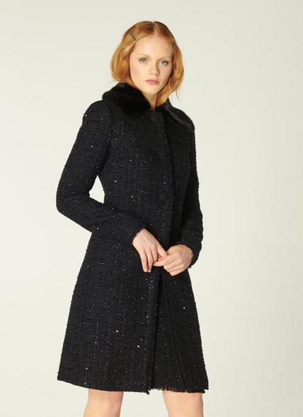 Sparkle Black Lurex Tweed Coat