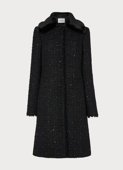 Sparkle Black Lurex Tweed Coat
