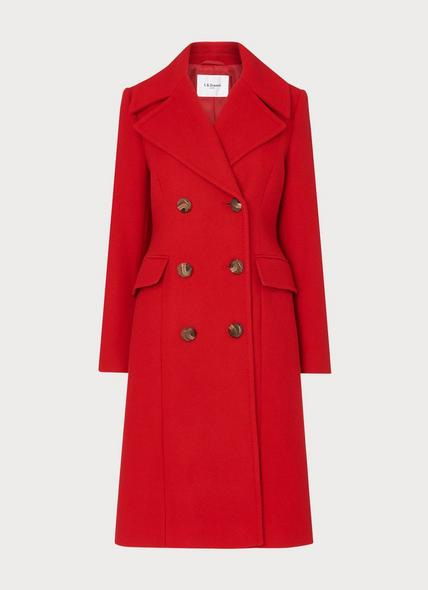 Syble Red Double-Breasted Wool-Blend Coat