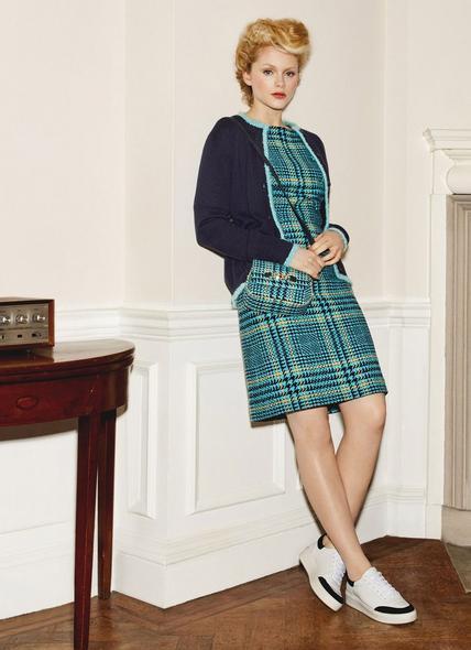 Aimee Turquoise Check Tweed Dress
