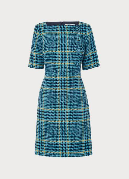Aimee Turquoise Check Tweed Dress