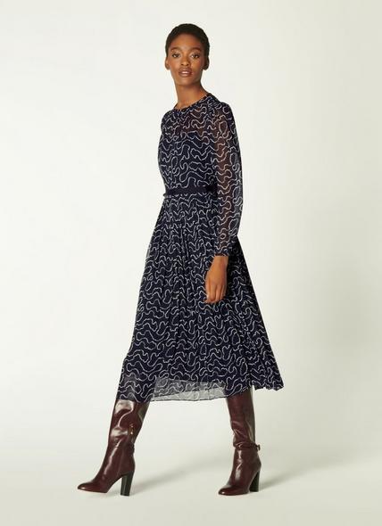 Avery Navy & Cream Pearl Print Pleated Midi Dress