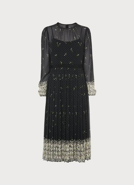 Avery Border Floral Print Pleated Midi Dress