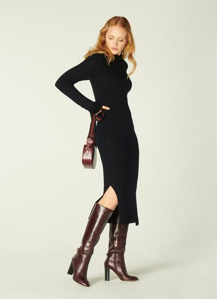 Barbara Black Ribbed Merino Wool Turtle Neck Dress