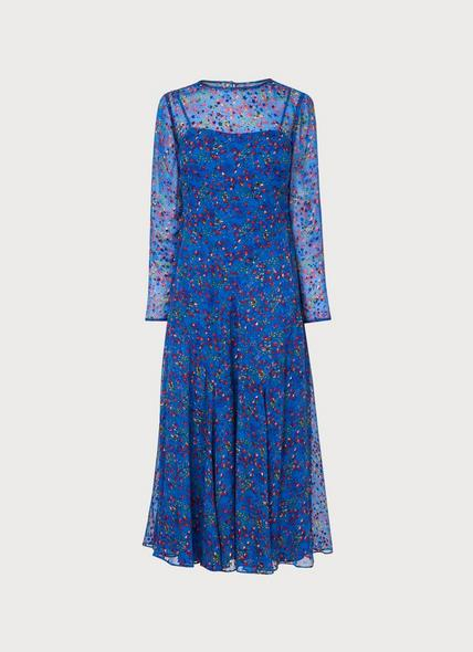 Bloomsbury Blue Floral Devoré Midi Dress