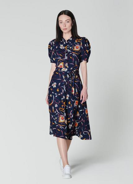 Bonham Navy Floral Print Shirt Dress