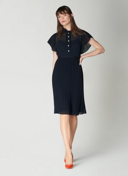 Brooks Navy Pleated Dress