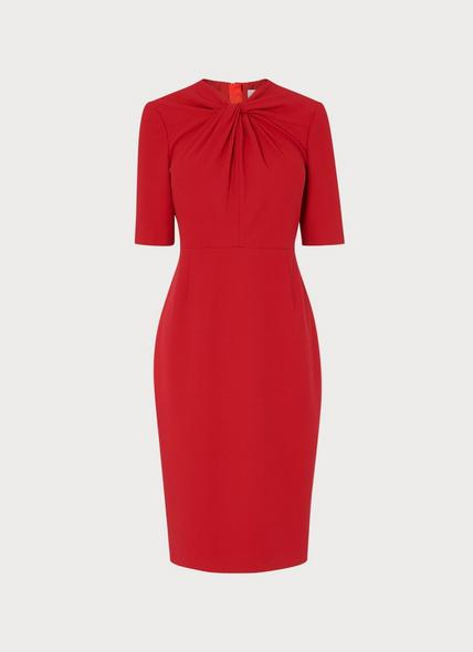 Caterina Red Crepe Shift Dress